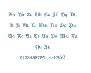 Amboise embroidery font PES format 15 Sizes 0.25 (1/4), 0.5 (1/2), 1, 1.5, 2, 2.5, 3, 3.5, 4, 4.5, 5, 5.5, 6, 6.5, and 7 inches