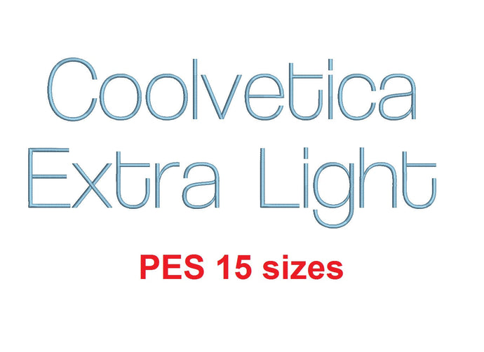 Coolvetica Extra Light™ embroidery font PES 15 Sizes 0.25 (1/4), 0.5 (1/2), 1, 1.5, 2, 2.5, 3, 3.5, 4, 4.5, 5, 5.5, 6, 6.5, and 7