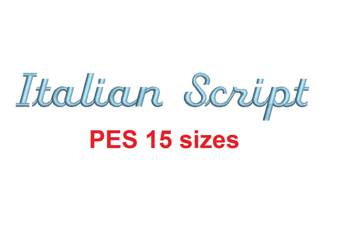 Italian Script embroidery font PES format 15 Sizes 0.25 (1/4), 0.5 (1/2), 1, 1.5, 2, 2.5, 3, 3.5, 4, 4.5, 5, 5.5, 6, 6.5, and 7 inches