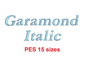 Garamond Italic embroidery font PES format 15 Sizes 0.25 (1/4), 0.5 (1/2), 1, 1.5, 2, 2.5, 3, 3.5, 4, 4.5, 5, 5.5, 6, 6.5, and 7 inches