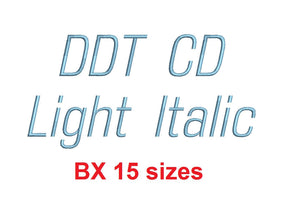 Ddt CD Light Italic™ embroidery BX font Sizes 0.25 (1/4), 0.50 (1/2), 1, 1.5, 2, 2.5, 3, 3.5, 4, 4.5, 5, 5.5, 6, 6.5, and 7 inches (RLA)