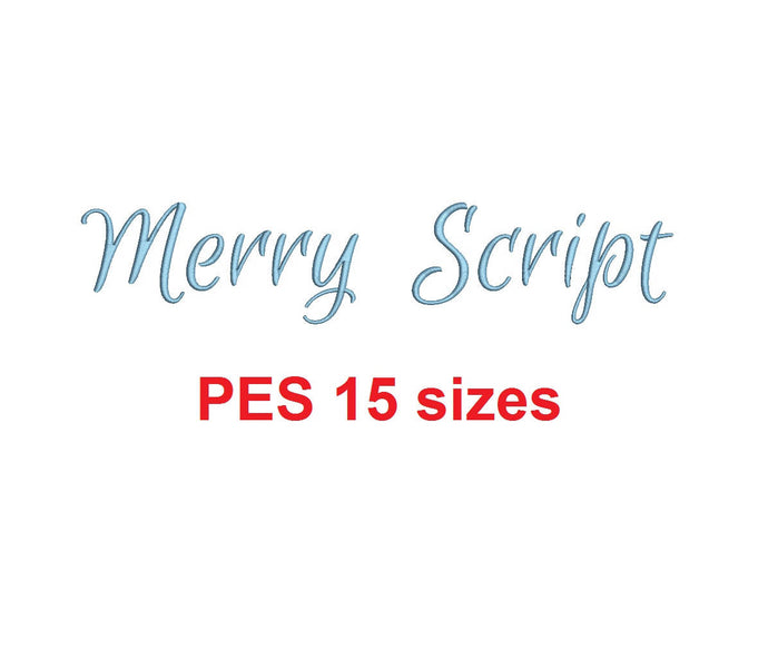 Merry Script embroidery font PES format 15 Sizes 0.25 (1/4), 0.5 (1/2), 1, 1.5, 2, 2.5, 3, 3.5, 4, 4.5, 5, 5.5, 6, 6.5, and 7 inches