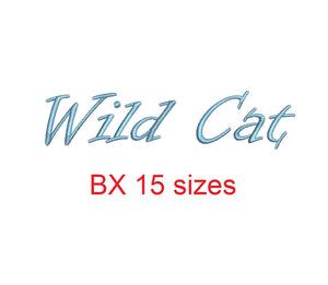 Wild Cat embroidery BX font Sizes 0.25 (1/4), 0.50 (1/2), 1, 1.5, 2, 2.5, 3, 3.5, 4, 4.5, 5, 5.5, 6, 6.5, and 7 inches