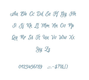 Merry Script embroidery BX font Sizes 0.25 (1/4), 0.50 (1/2), 1, 1.5, 2, 2.5, 3, 3.5, 4, 4.5, 5, 5.5, 6, 6.5, and 7 inches