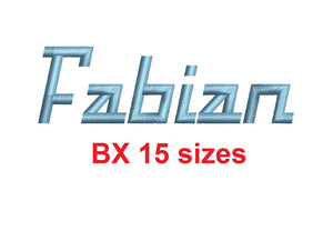 "Fabian™ block embroidery BX font Sizes 0.25 (1/4), 0.50 (1/2), 1, 1.5, 2, 2.5, 3, 3.5, 4, 4.5, 5, 5.5, 6, 6.5, and 7"" (RLA)"