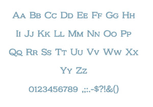 "Kelvingrove™ embroidery font PES 15 Sizes 0.25 (1/4), 0.5 (1/2), 1, 1.5, 2, 2.5, 3, 3.5, 4, 4.5, 5, 5.5, 6, 6.5, and 7"" (RLA)"