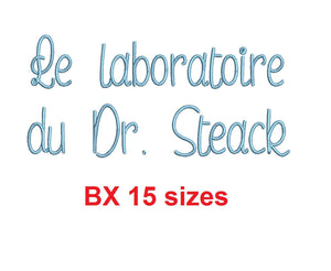 Le laboratoire du Dr. Steak embroidery BX font Sizes 0.25 (1/4), 0.50 (1/2), 1, 1.5, 2, 2.5, 3, 3.5, 4, 4.5, 5, 5.5, 6, 6.5, and 7 inches