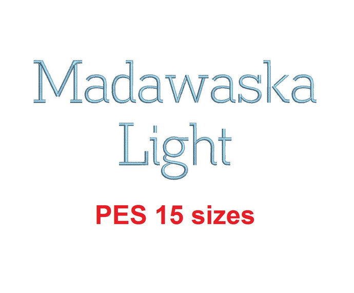 Madawaska™ embroidery font PES 15 Sizes 0.25 (1/4), 0.5 (1/2), 1, 1.5, 2, 2.5, 3, 3.5, 4, 4.5, 5, 5.5, 6, 6.5, and 7 inches (RLA)