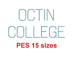 "Octin College Light™ embroidery font PES 15 Sizes 0.25 (1/4), 0.5 (1/2), 1, 1.5, 2, 2.5, 3, 3.5, 4, 4.5, 5, 5.5, 6, 6.5, and 7"" (RLA)"