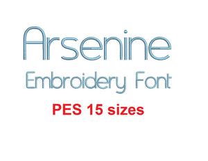 Arsenine embroidery font PES format 15 Sizes instant download 0.25, 0.5, 1, 1.5, 2, 2.5, 3, 3.5, 4, 4.5, 5, 5.5, 6, 6.5, and 7 inches