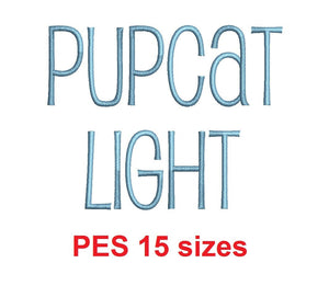 Pupcat Light™ embroidery font PES 15 Sizes 0.25 (1/4), 0.5 (1/2), 1, 1.5, 2, 2.5, 3, 3.5, 4, 4.5, 5, 5.5, 6, 6.5, and 7 inches (RLA)