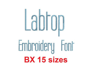 Labtop embroidery BX font Sizes 0.25 (1/4), 0.50 (1/2), 1, 1.5, 2, 2.5, 3, 3.5, 4, 4.5, 5, 5.5, 6, 6.5, and 7 inches