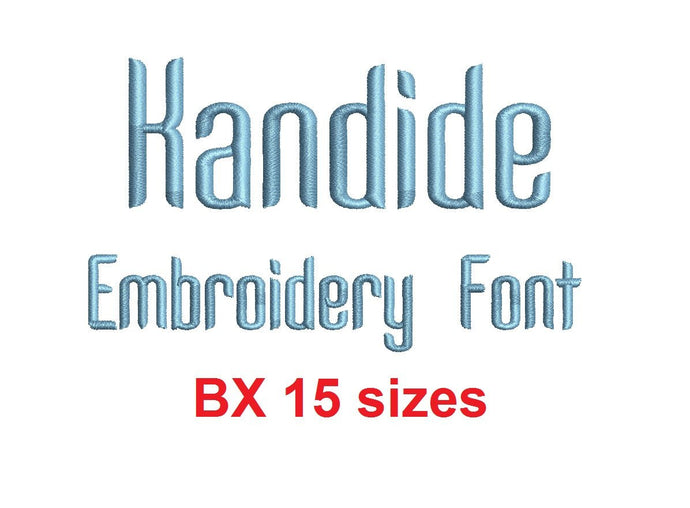Kandide embroidery BX font Sizes 0.25 (1/4), 0.50 (1/2), 1, 1.5, 2, 2.5, 3, 3.5, 4, 4.5, 5, 5.5, 6, 6.5, and 7 inches