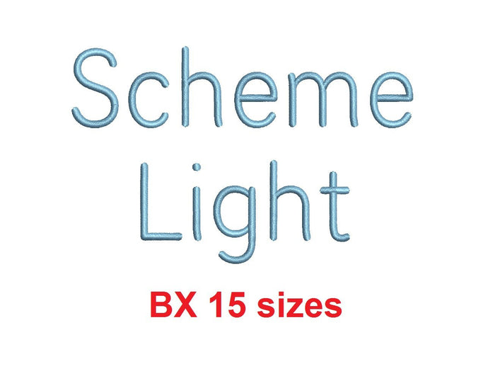 Scheme Light™ embroidery BX font Sizes 0.25 (1/4), 0.50 (1/2), 1, 1.5, 2, 2.5, 3, 3.5, 4, 4.5, 5, 5.5, 6, 6.5, and 7 inches (RLA)