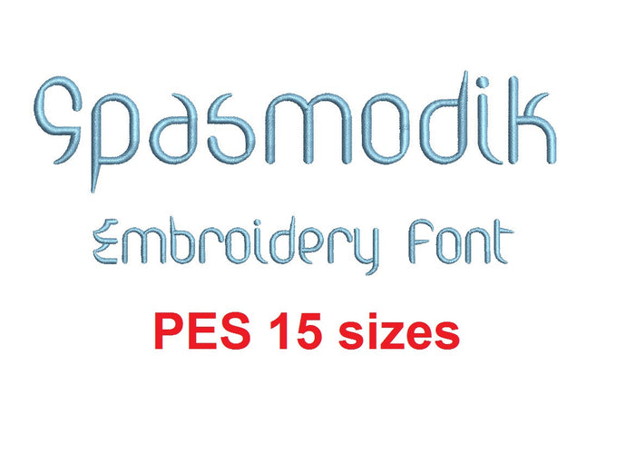 Spasmodik embroidery font PES 15 Sizes 0.25 (1/4), 0.5 (1/2), 1, 1.5, 2, 2.5, 3, 3.5, 4, 4.5, 5, 5.5, 6, 6.5, and 7 inches (RLA)