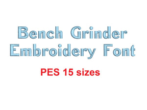 "Bench Grinder™ block embroidery font PES format 15 Sizes 0.25 (1/4), 0.5 (1/2), 1, 1.5, 2, 2.5, 3, 3.5, 4, 4.5, 5, 5.5, 6, 6.5, and 7"" (RLA)"