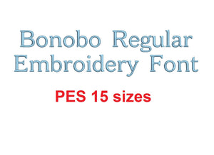 Bonobo Regular™ embroidery font PES 15 Sizes 0.25 (1/4), 0.5 (1/2), 1, 1.5, 2, 2.5, 3, 3.5, 4, 4.5, 5, 5.5, 6, 6.5, and 7 inches (RLA)