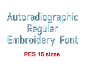 Autoradiographic™ embroidery font PES 15 Sizes 0.25 (1/4), 0.5 (1/2), 1, 1.5, 2, 2.5, 3, 3.5, 4, 4.5, 5, 5.5, 6, 6.5, and 7 inches (RLA)