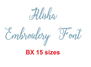 Alisha Script embroidery BX font Sizes 0.25 (1/4), 0.50 (1/2), 1, 1.5, 2, 2.5, 3, 3.5, 4, 4.5, 5, 5.5, 6, 6.5, and 7 inches