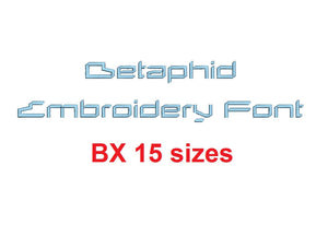 Betaphid™ block embroidery BX font Sizes 0.25 (1/4), 0.50 (1/2), 1, 1.5, 2, 2.5, 3, 3.5, 4, 4.5, 5, 5.5, 6, 6.5, and 7 inches (RLA)