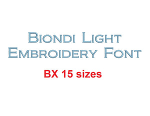 Biondi™ block embroidery BX font Sizes 0.25 (1/4), 0.50 (1/2), 1, 1.5, 2, 2.5, 3, 3.5, 4, 4.5, 5, 5.5, 6, 6.5, and 7 inches (RLA)