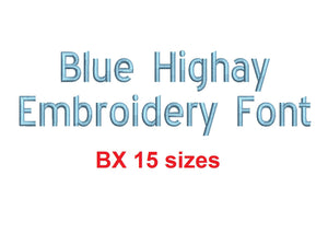 Blue Highway™ block embroidery BX font Sizes 0.25 (1/4), 0.50 (1/2), 1, 1.5, 2, 2.5, 3, 3.5, 4, 4.5, 5, 5.5, 6, 6.5, and 7 inches (RLA)