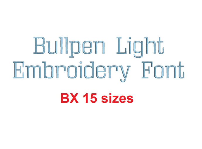 Bullpen Light™ embroidery BX font Sizes 0.25 (1/4), 0.50 (1/2), 1, 1.5, 2, 2.5, 3, 3.5, 4, 4.5, 5, 5.5, 6, 6.5, and 7 inches (RLA)