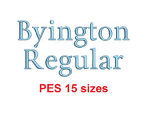 "Byington Regular™ block embroidery font PES 15 Sizes 0.25 (1/4), 0.5 (1/2), 1, 1.5, 2, 2.5, 3, 3.5, 4, 4.5, 5, 5.5, 6, 6.5, and 7"" (RLA)"