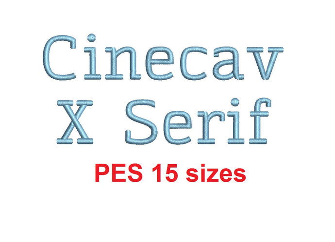 Cinecav X Serif™ block embroidery font PES 15 Sizes 0.25 (1/4), 0.5 (1/2), 1, 1.5, 2, 2.5, 3, 3.5, 4, 4.5, 5, 5.5, 6, 6.5, and 7