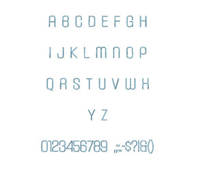 Carbon Extra Light™ block embroidery font dst/exp/jef/hus/vip/vp3/xxx 15 sizes small to large (RLA)