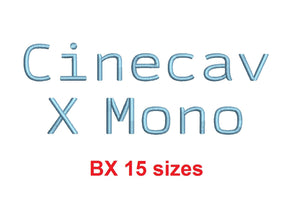 Cinecav X Mono™ block embroidery BX font Sizes 0.25 (1/4), 0.50 (1/2), 1, 1.5, 2, 2.5, 3, 3.5, 4, 4.5, 5, 5.5, 6, 6.5, and 7 inches (RLA)