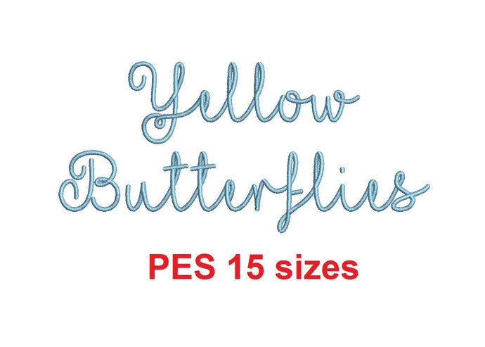 Yellow Butterflies embroidery font PES format 15 Sizes 0.25, 0.5, 1, 1.5, 2, 2.5, 3, 3.5, 4, 4.5, 5, 5.5, 6, 6.5, and 7