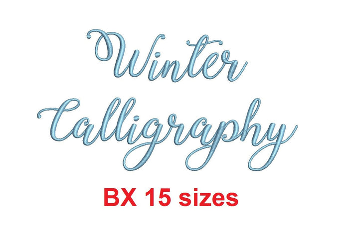 Winter Calligraphy embroidery BX font Sizes 0.25 (1/4), 0.50 (1/2), 1, 1.5, 2, 2.5, 3, 3.5, 4, 4.5, 5, 5.5, 6, 6.5, and 7