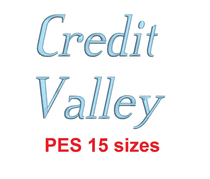 Credit Valley Italic™ embroidery font PES 15 Sizes 0.25 (1/4), 0.5 (1/2), 1, 1.5, 2, 2.5, 3, 3.5, 4, 4.5, 5, 5.5, 6, 6.5, and 7
