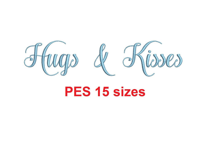 Hugs and Kisses embroidery font PES format 15 Sizes 0.25 (1/4), 0.5 (1/2), 1, 1.5, 2, 2.5, 3, 3.5, 4, 4.5, 5, 5.5, 6, 6.5, 7