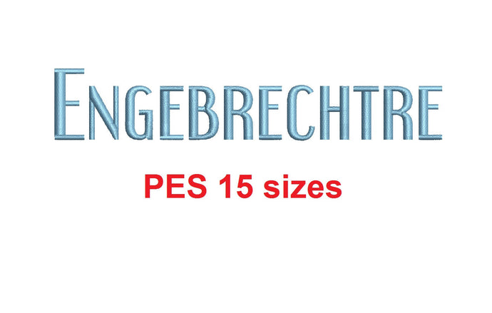 Engebrechtre™ embroidery font PES 15 Sizes 0.25 (1/4), 0.5 (1/2), 1, 1.5, 2, 2.5, 3, 3.5, 4, 4.5, 5, 5.5, 6, 6.5, and 7