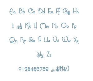 Connie embroidery font PES format 15 Sizes 0.25 (1/4), 0.5 (1/2), 1, 1.5, 2, 2.5, 3, 3.5, 4, 4.5, 5, 5.5, 6, 6.5, and 7 inches