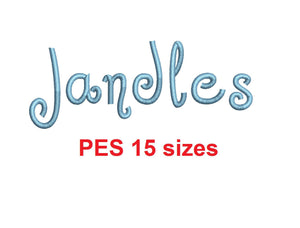 "Jandles™ embroidery font PES 15 Sizes 0.25 (1/4), 0.5 (1/2), 1, 1.5, 2, 2.5, 3, 3.5, 4, 4.5, 5, 5.5, 6, 6.5, and 7"" (RLA)"