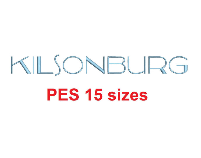 Kilsonburg™ embroidery font PES 15 Sizes 0.25 (1/4), 0.5 (1/2), 1, 1.5, 2, 2.5, 3, 3.5, 4, 4.5, 5, 5.5, 6, 6.5, and 7