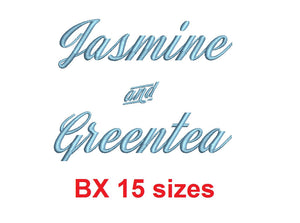 Jasmine and Greentea embroidery BX font Sizes 0.25 (1/4), 0.50 (1/2), 1, 1.5, 2, 2.5, 3, 3.5, 4, 4.5, 5, 5.5, 6, 6.5, and 7 inches