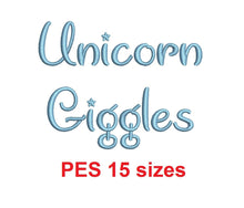 "Unicorn Giggles embroidery font PES format 15 Sizes 0.25 (1/4), 0.5 (1/2), 1, 1.5, 2, 2.5, 3, 3.5, 4, 4.5, 5, 5.5, 6, 6.5, and 7"" (MHA)"