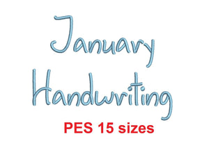 "January Handwriting embroidery font PES format 15 Sizes 0.25 (1/4), 0.5 (1/2), 1, 1.5, 2, 2.5, 3, 3.5, 4, 4.5, 5, 5.5, 6, 6.5, and 7"" (MHA)"