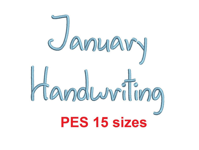 January Handwriting embroidery font PES format 15 Sizes 0.25 (1/4), 0.5 (1/2), 1, 1.5, 2, 2.5, 3, 3.5, 4, 4.5, 5, 5.5, 6, 6.5, and 7