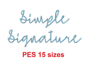 "Simple Signature embroidery font PES format 15 Sizes 0.25 (1/4), 0.5 (1/2), 1, 1.5, 2, 2.5, 3, 3.5, 4, 4.5, 5, 5.5, 6, 6.5, and 7"" (MHA)"
