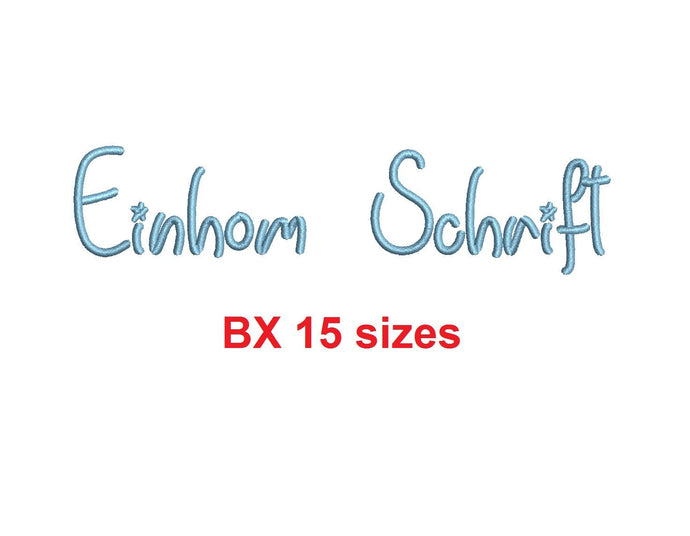 Einhom Schrift embroidery BX font Sizes 0.25 (1/4), 0.50 (1/2), 1, 1.5, 2, 2.5, 3, 3.5, 4, 4.5, 5, 5.5, 6, 6.5, and 7