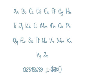 "January Handwriting embroidery BX font Sizes 0.25 (1/4), 0.50 (1/2), 1, 1.5, 2, 2.5, 3, 3.5, 4, 4.5, 5, 5.5, 6, 6.5, and 7"" (MHA)"