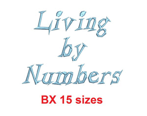 Living by Numbers™ block embroidery BX font Sizes 0.25 (1/4), 0.50 (1/2), 1, 1.5, 2, 2.5, 3, 3.5, 4, 4.5, 5, 5.5, 6, 6.5, and 7 inches (RLA)