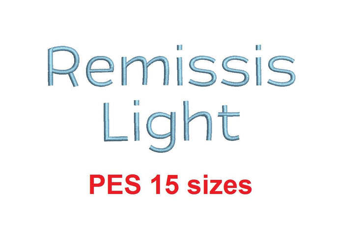 Remissis™ embroidery font PES 15 Sizes 0.25 (1/4), 0.5 (1/2), 1, 1.5, 2, 2.5, 3, 3.5, 4, 4.5, 5, 5.5, 6, 6.5, and 7