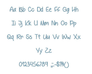 "Behind Blue Eyes embroidery font PES 15 Sizes 0.25 (1/4), 0.5 (1/2), 1, 1.5, 2, 2.5, 3, 3.5, 4, 4.5, 5, 5.5, 6, 6.5, and 7"" (MHA)"
