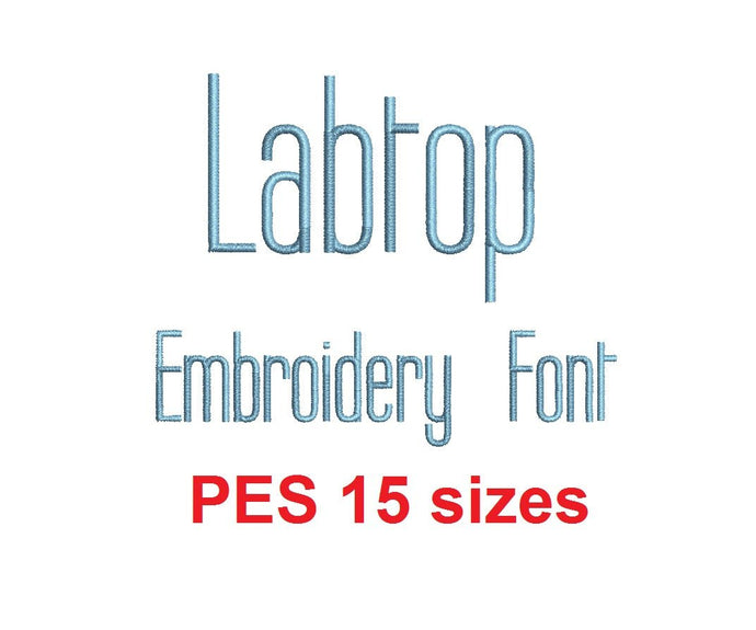 Labtop embroidery font PES format 15 Sizes instant download 0.25, 0.5, 1, 1.5, 2, 2.5, 3, 3.5, 4, 4.5, 5, 5.5, 6, 6.5, and 7 inches